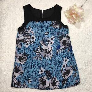 Tops - Blue/Black floral pattern blouse Sz XS